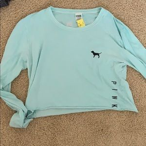 PINK vs cropped blue long sleeve